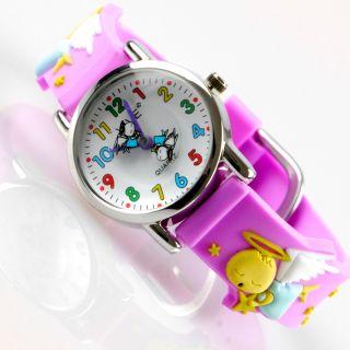 Kinder Mädchen Vive Lernuhr Armband Uhr Silikon Watch Analog Lila Engel 44 Bild