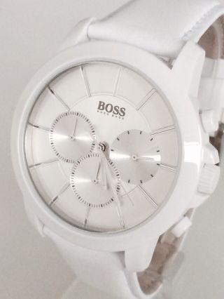 Hugo Boss Herrenuhr Chrono Leder Weiß Hb1512907 Uvp 339€ Bild