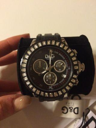 D&g Dolce Gabbana Uhr Chronograph Dw0410 Swarovski Schwarz Bild