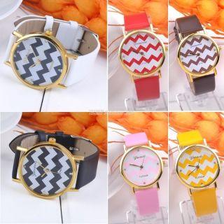Frauen - Damen Stripes Uhr Pu - Leder Man Analog Quarz Armbanduhren Geschenk Bild