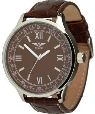 Minoir Uhren - Modell Flirac Braun - Rückwärtsuhr Ø 48 Mm Bild