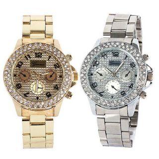 Mode Luxus Frauen - Männer - Kristall - Quarz Strass Kristall Armbanduhr Bild