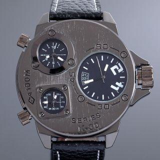 Zeiger Alle Schwarz Quarz Herren Armbanduhr 3 Zeitzonen Time Uhr Leder Armband Bild