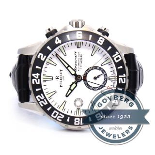 Perrelet Drive Seacraft Gmt Herren Uhr Stahl Weisses Ziffernblatt A1055/1 Bild