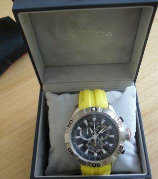 Nautica Nst 550 Chronograph N18628g Gelb/yellow Herren - Uhr - Diver - Watch - Ovp Bild