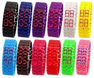 Unisex Lava Samurai Uhr Digital Mit Roten Led ´s Led - Uhr Watch - Versch.  Farben Bild