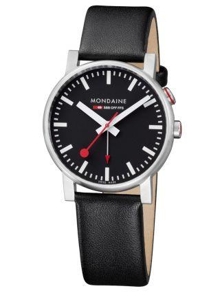 Mondaine Basics - Evo Alarm - Männer 40mm Schwarzes Zifferblatt Leder Armbanduhr Bild