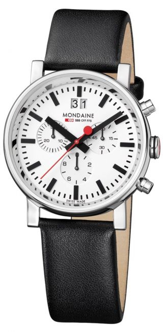 Mondaine Evo - 40mm Chronograph Herren Schwarze Leder Beobachten Bild