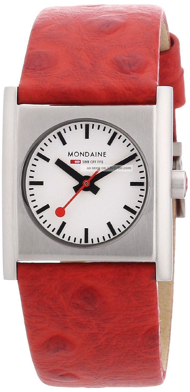 Mondaine A658.  30320.  26sbc Bahnen Evo Quadrat Frauen Rote Leder Uhr, Armbanduhren Bild
