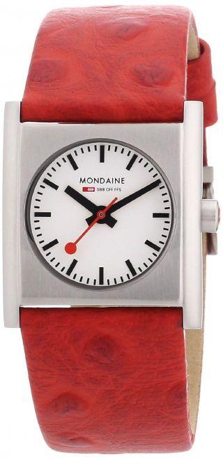 Mondaine A658.  30320.  26sbc Bahnen Evo Quadrat Frauen Rote Leder Uhr, Bild
