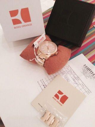 Hugo Boss Orange Unisex Gold Uhr 1512992 Nur 7,  5 Monate Alt Mit Restgarantie Bild