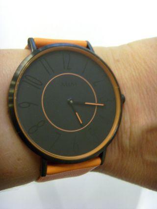 M&m Germany Uhr Damenuhr M11870 - 787 Geradlinig Lederband Orange Color Blocking Bild