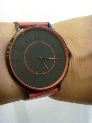 M&m Germany Uhr Damenuhr M11870 - 887 Geradlinig Lederband Rot Color Blocking Bild
