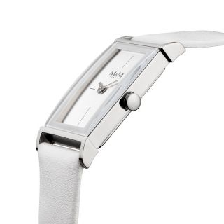 M&m Germany Uhr Damenuhr M11857 - 742 Geradlinig Lederband Weiß Frameless Bild