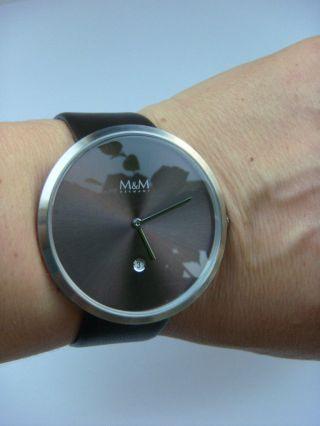M&m Germany Uhr Damenuhr M11881 - 525 Jumbo Big Time Silber Schoko Mit Datum Bild