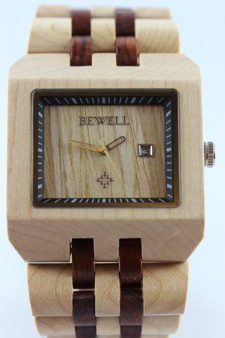 Bewell Holzuhr,  Herrenuhr,  Datum,  Ahorn - Sandelholz,  Top Geschenk,  Armbanduhr Bild