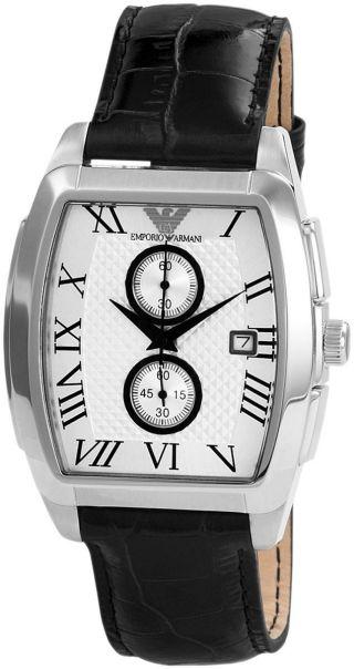 Armani Herrenuhr Ar0936 Mit Echtlederarmband Herren Uhr Bild