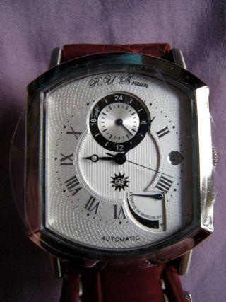 R.  U.  Braun Automatik Uhr,  Modell Rub 02 - 001,  Ungetragen Bild
