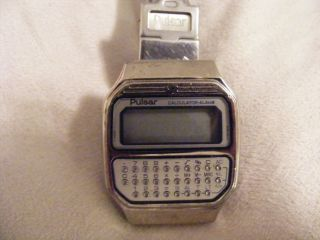 Vintage Pulsar Calculator Alarm Y739 5019 Quarz Uhr Armbanduhr Digital Bild