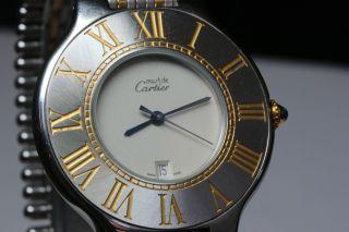 Cartier Must 21,  Stahlgold,  Quarzwerk,  Großes Modell Avs2711 Dif Rwt1 Bild