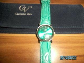 Uhr Christian View Stylisches GrÜn Kroko - Optik Bild