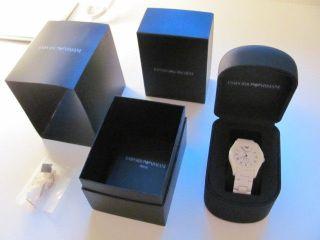 Emporio Armani Armbanduhr Damen Echt Keramik Weiß Silber Mit Echtheitszertifikat Bild