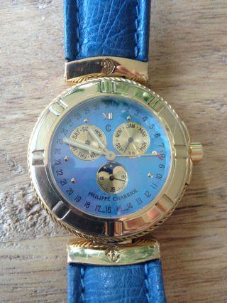 Philippe Charriol Damen Herren Armbanduhr Gelb Gold 18 Kt Karat 750 Er Mondphase Bild