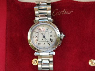 Cartier Pasha C Automatik Armbanduhr,  1994,  Edelstahlband,  Weißes Zifferblatt Bild