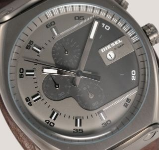 Diesel Herrenuhr / Herren Uhr Leder Doppelband Xl Chronograph Datum Dz4293 Bild