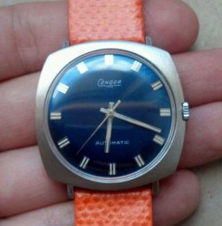 Vintage Condor 14k 585 Weißgold Gold Eta 2451 Automatik Uhr Blaues Zb - Revision Bild