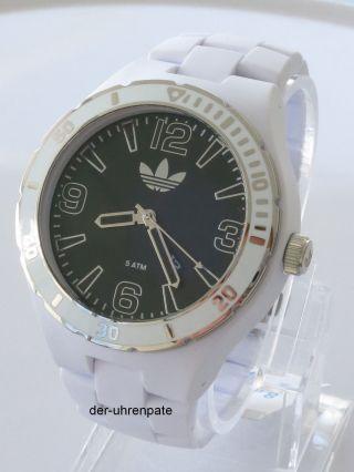 Adidas Herrenuhr / Herren Uhr Kunststoff Datum Weiß Schwarz Big Adh2737 Bild