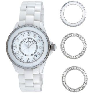 Damen Armbanduhr Akribos Xxiv Weiß Keramik 3 Austauschbare Lünetten Silber Bild