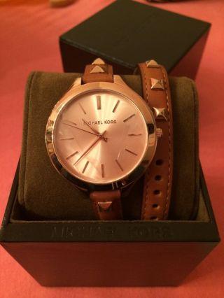 Michael Kors Uhr Mk2299 Brau Mit Nieten Rosegold Geschenk Bild