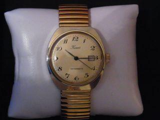Karex Herrenuhr Ruhla Uhrwerk Kal.  24 - 33 Ddr Flexband Handaufzug Datumsanzeige Bild