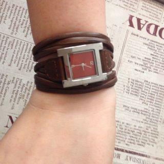 Uhr Leder Braun Silber Stränge Analog Damen Bild