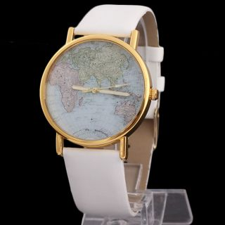 World Map Globe Mode Leder Alloy Damen Analog Quarz - Uhren Weiß Bild