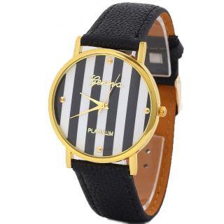 Männer Leatheroid Klassische Genfer Streifen Print Analog Quarz - Armbanduhr Schwa Bild