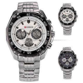 V Curren Mode Herrenuhr Silber - Gehäuse Edelstahl Sportstil Quarzuhr Armbanduhr Bild