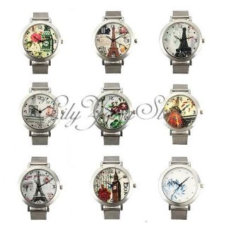 Damenuhr Edelstahl Armband Silber Armbanduhr Blumen Eiffelturm Quarz Uhren Bild