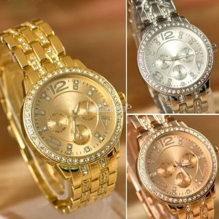 Männer Frauen Edle Luxuskristallrhinestone - Edelstahl - Quarz - Armbanduhr 4 Farben Bild