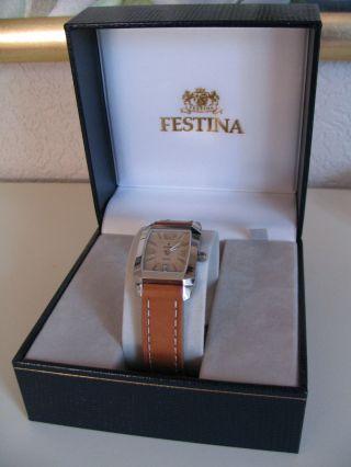 Festina Armbanduhr Quarz Mit Datumsanzeige Lederband Damen Uhr Bild