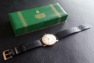 Gruen Genève 585er 14k Gold - Schweizer Herrenuhr - Klassiker Im Bild