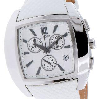 Joop Herrenuhr Xl Icon Jp100511f04 Edelstahl Silber Leder Weiß Bild