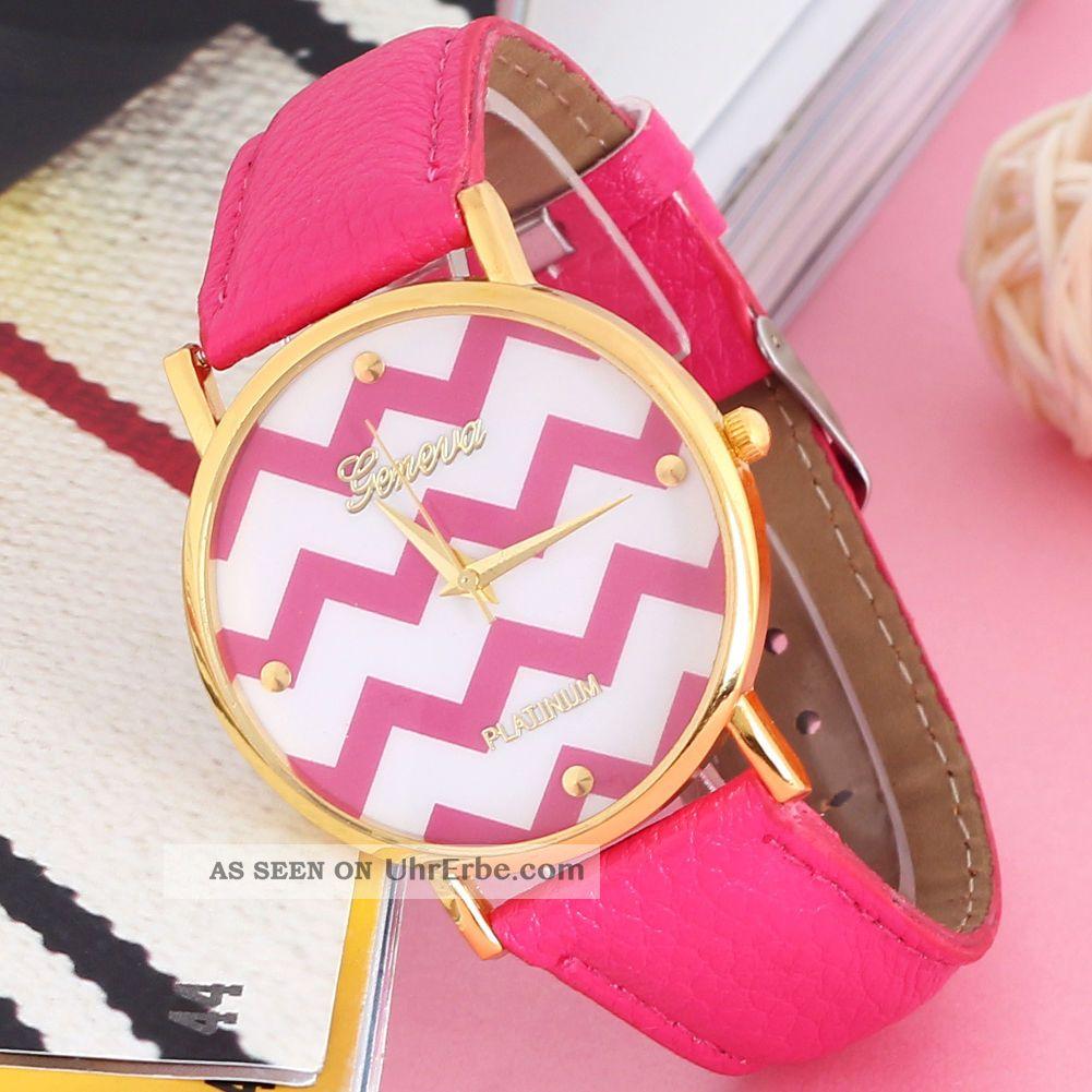 Neue Genfer Populären Frauen - Leder - Band Rose Red Waves Armbanduhr Armbanduhren Bild