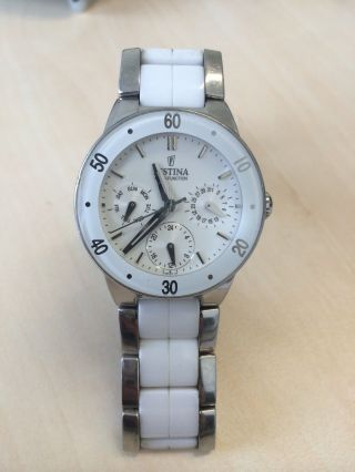 Damenuhr Weiß Festina Keramik Und Edelstahl Armband F16530 Bild