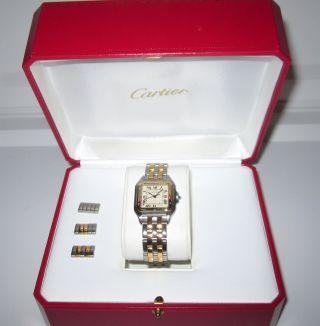 Traum Cartier Panthere Medium 2 Reihen Gold Edelstahl Damen Herren Uhr Top Zust Bild