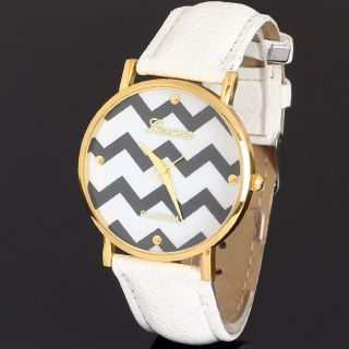 Frauen Männer Faux - Lederband Runden Zifferblatt Quarz - Armbanduhr Bild
