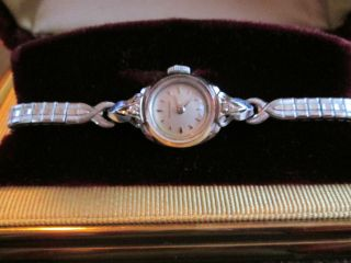 Rar Vintage 1957 Longines 14k Solid Gold Diamanten Dau Handaufzug,  Box Top Bild
