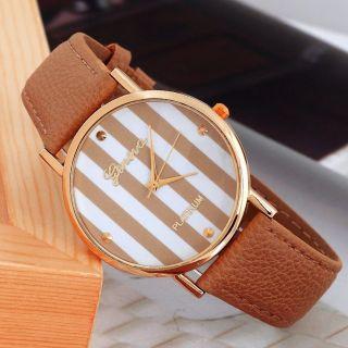 Neue Frauen Leatheroid Klassische Genfer Streifen Print Analog Quarz - Armbanduhr Bild