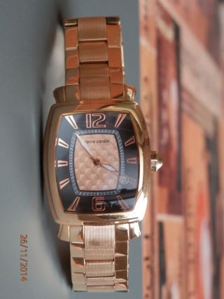 Pierre Cardin Herren - Armbanduhr Tonneau In Edlem Rotgold Neuwertig Bild